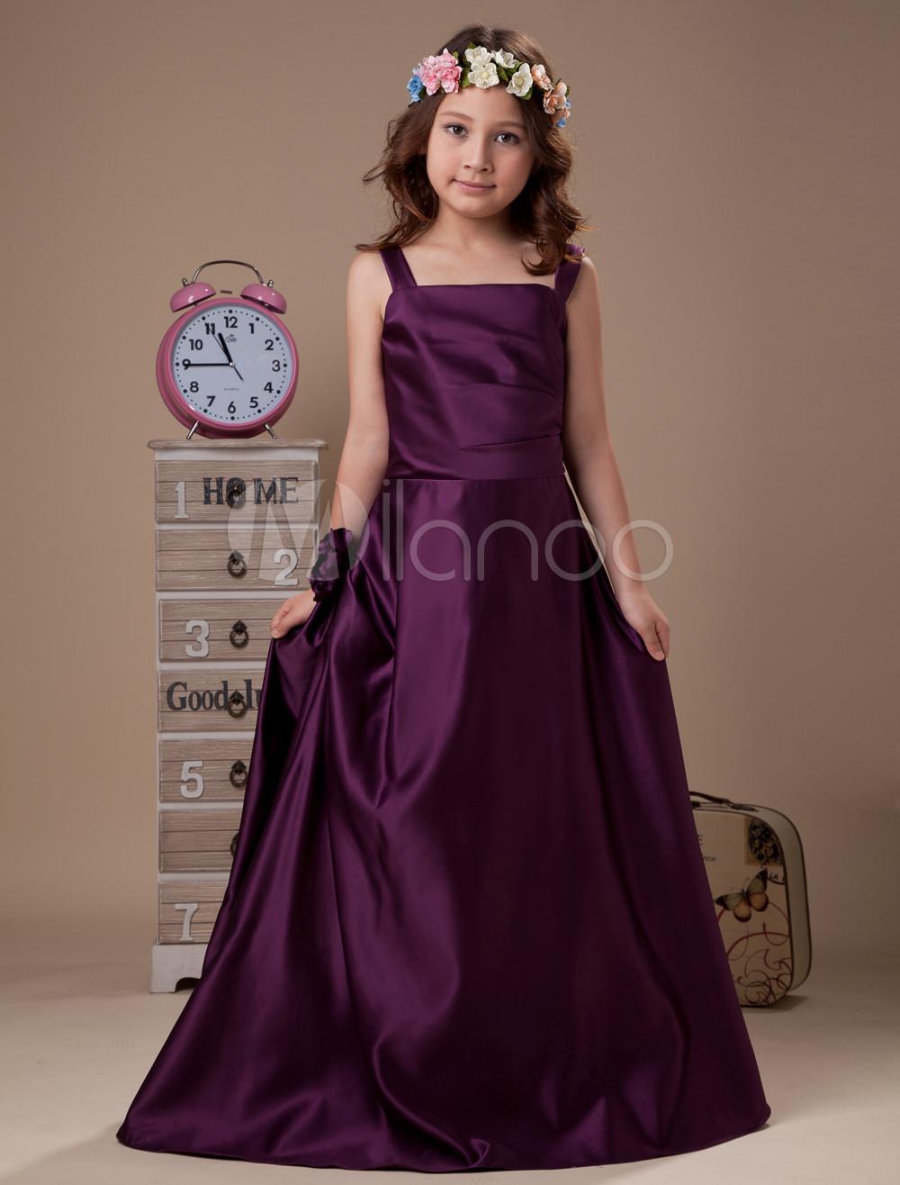 Vestido De Niña De Flores De Color Morado De Satén De Línea