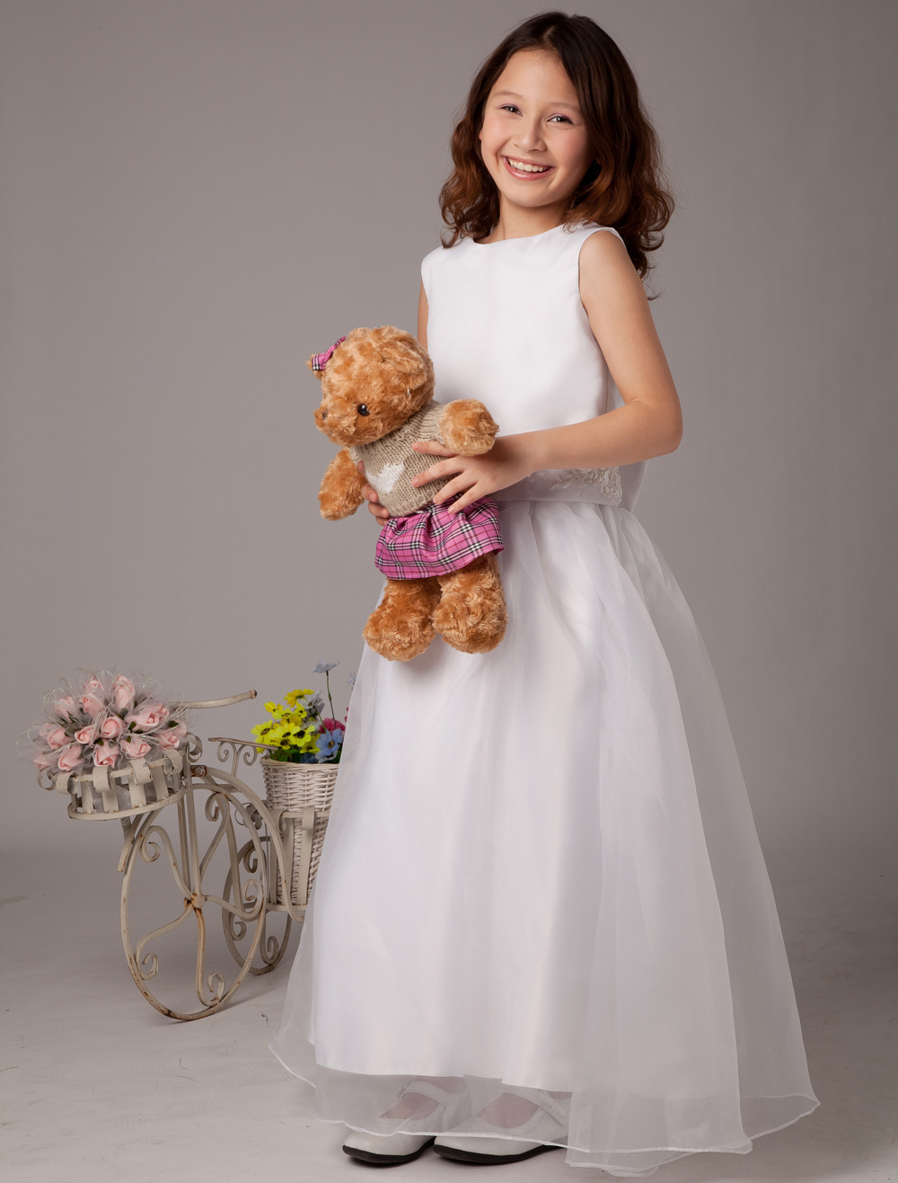 5bb1c0f0813 Ball Gown Jewel Neck Ankle-Length White Organza Satin Sash Flower Girl Dress
