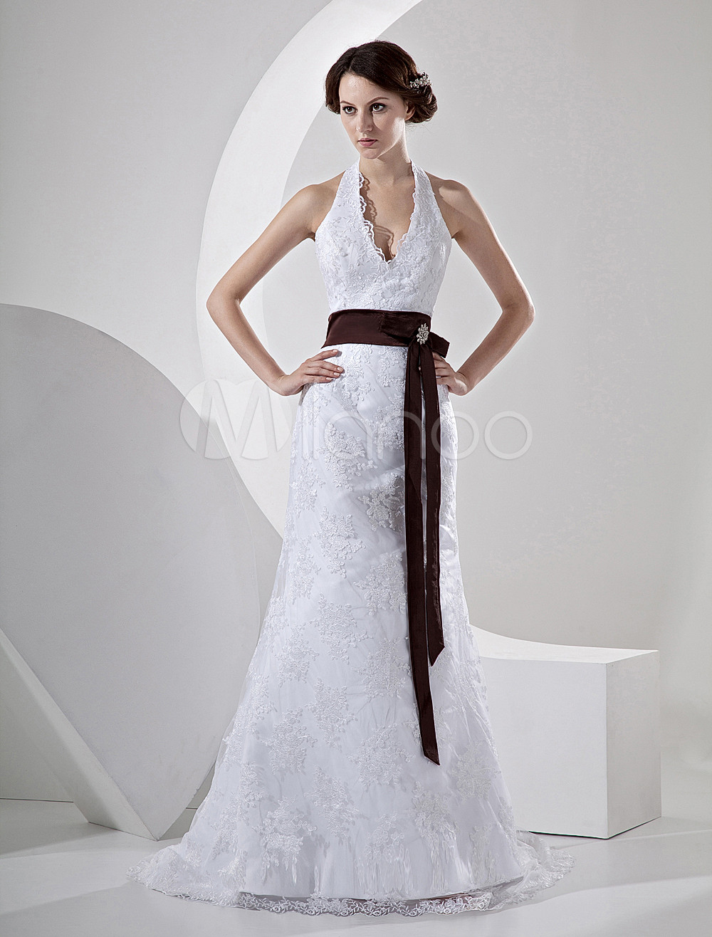 mermaid v neck sweep white lace satin sash rhinestone bridal gown