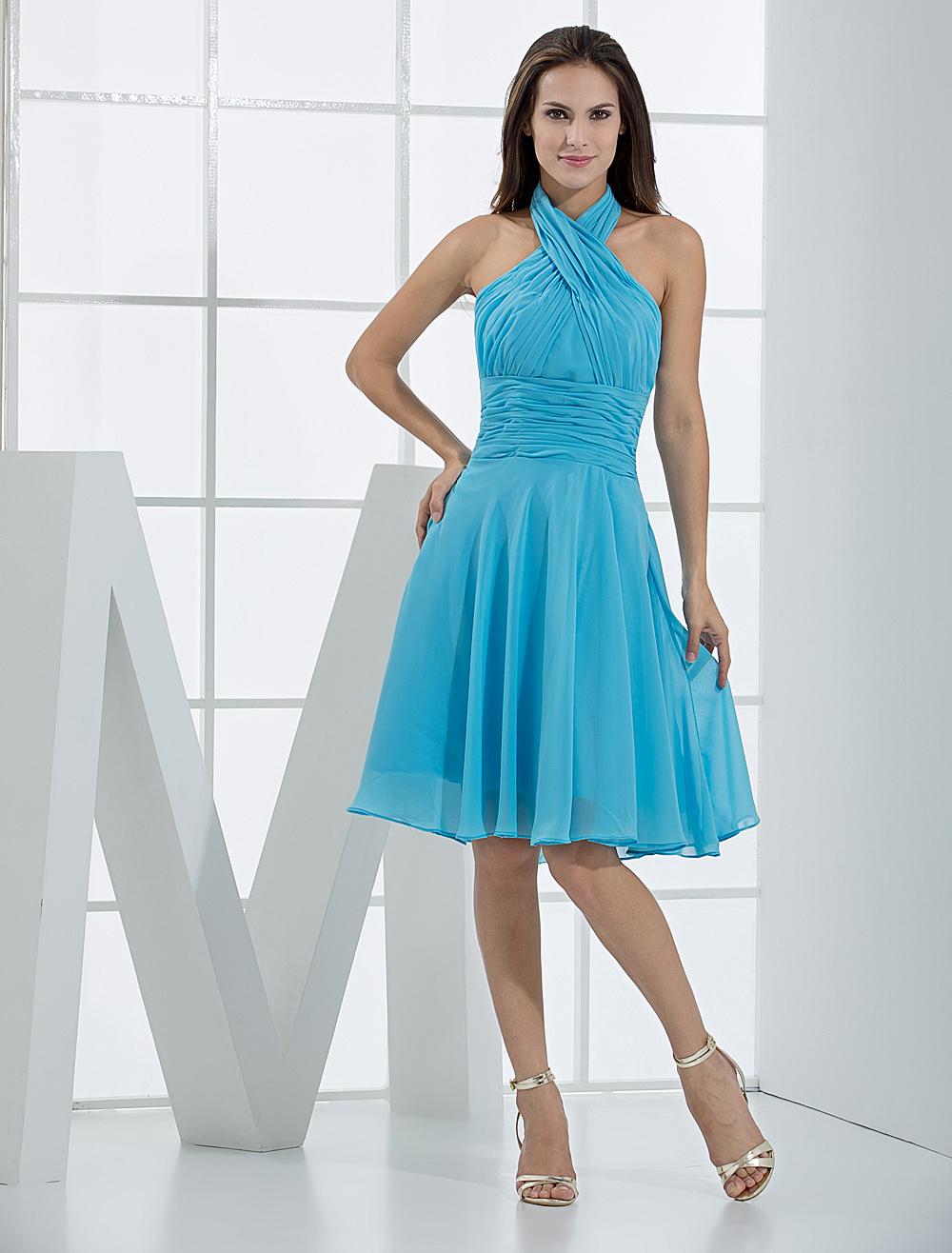 A Line Halter Knee Length Blue Satin Chiffon Pleated Bridesmaid Dress