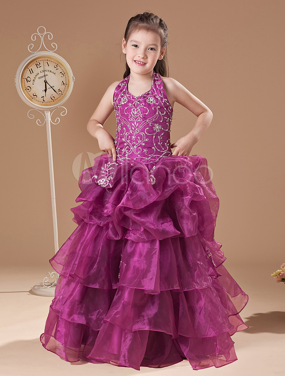 Hermosa rosa suave hilo piso longitud niñas vestido del desfile ...
