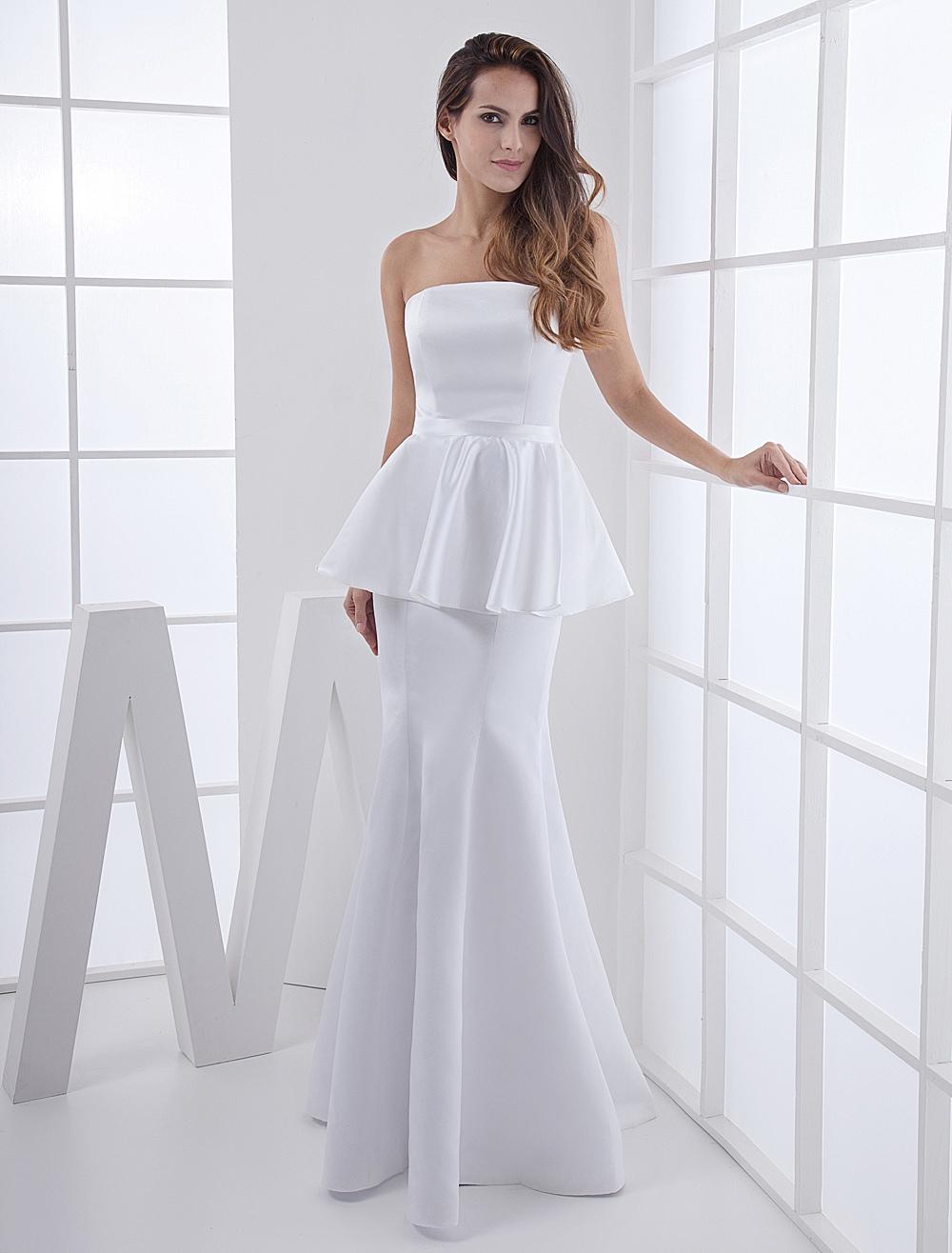 Mermaid Strapless Floor-Length White Satin Peplum Evening Dress ...