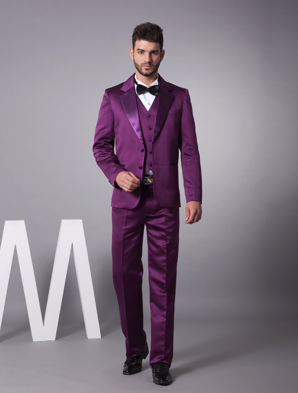 Purple Wedding Dresses And Suits : Purple satin groom suit dressinwedding