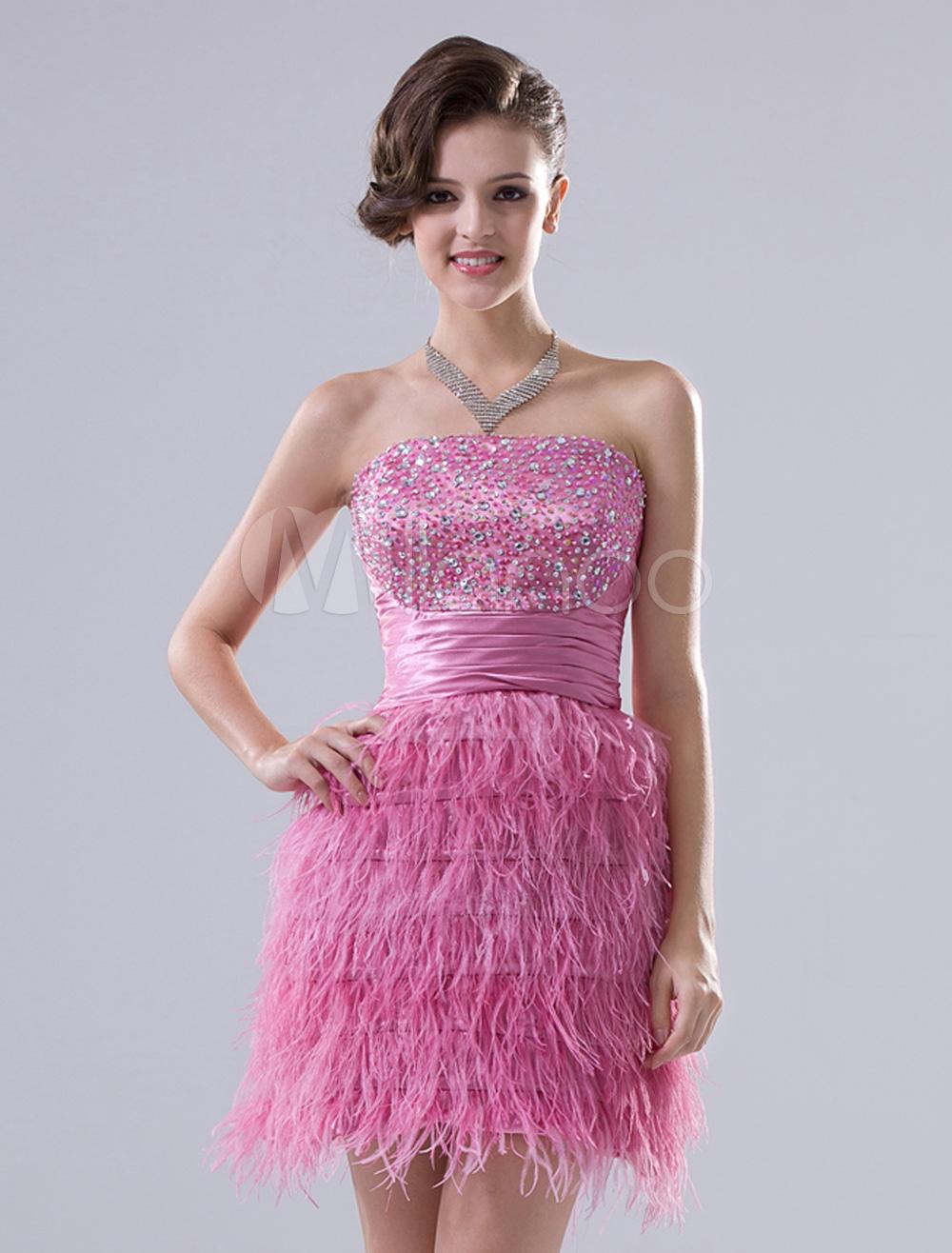 Vestido para cóctel rosa de seda elástica sin tirantes ajustado mini ...