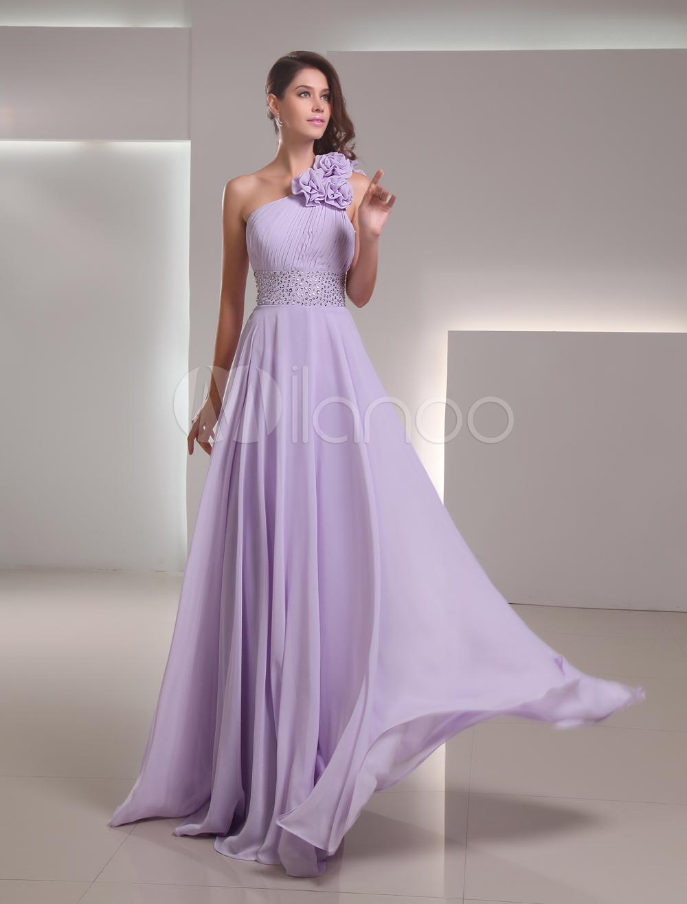 853d47df5 Encantador vestido Lila gasa Floral de un solo hombro piso-longitud Prom -  Dressinwedding.com