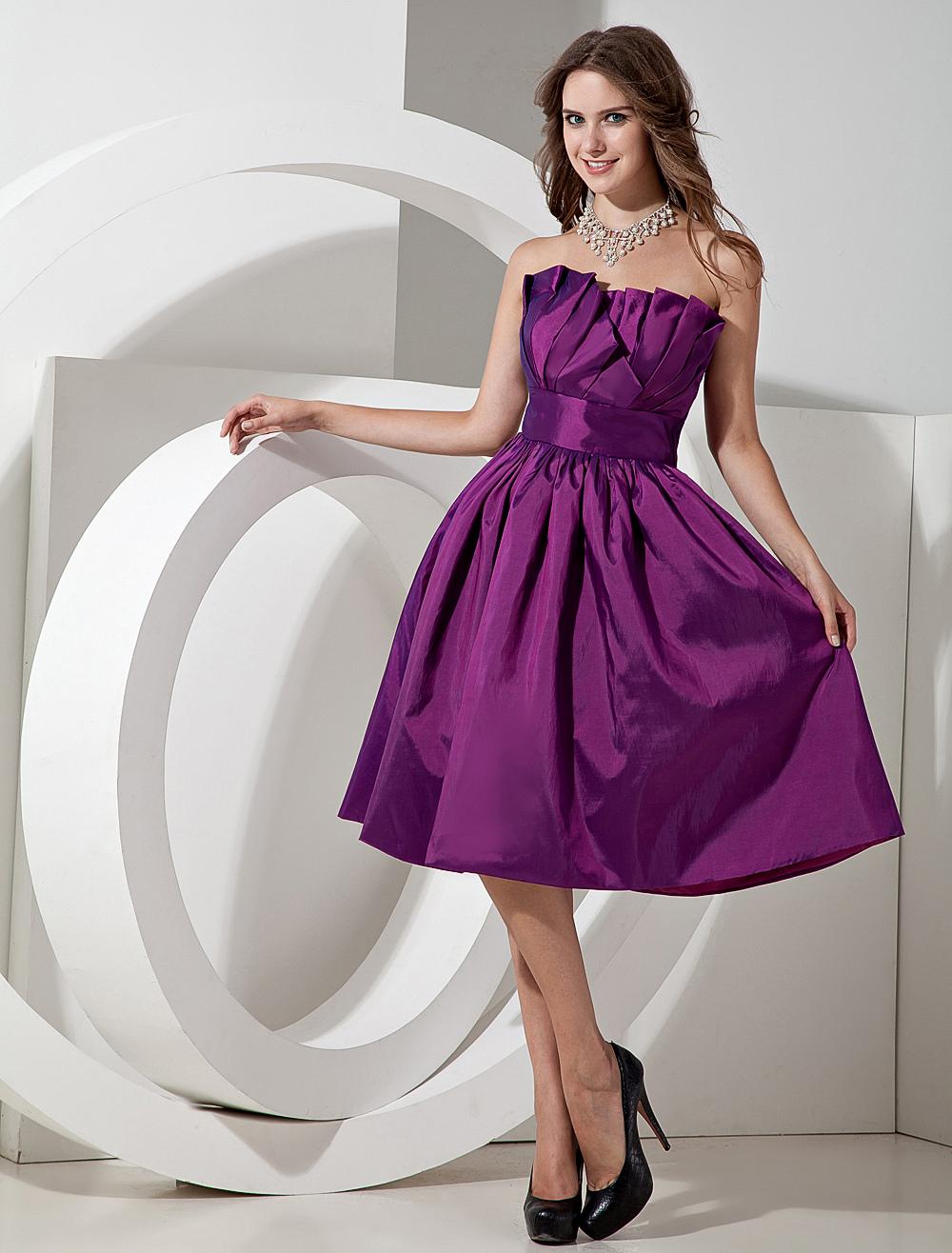 Encantador Vestido De La Dama De Honor De Color Púrpura Claro Molde ...