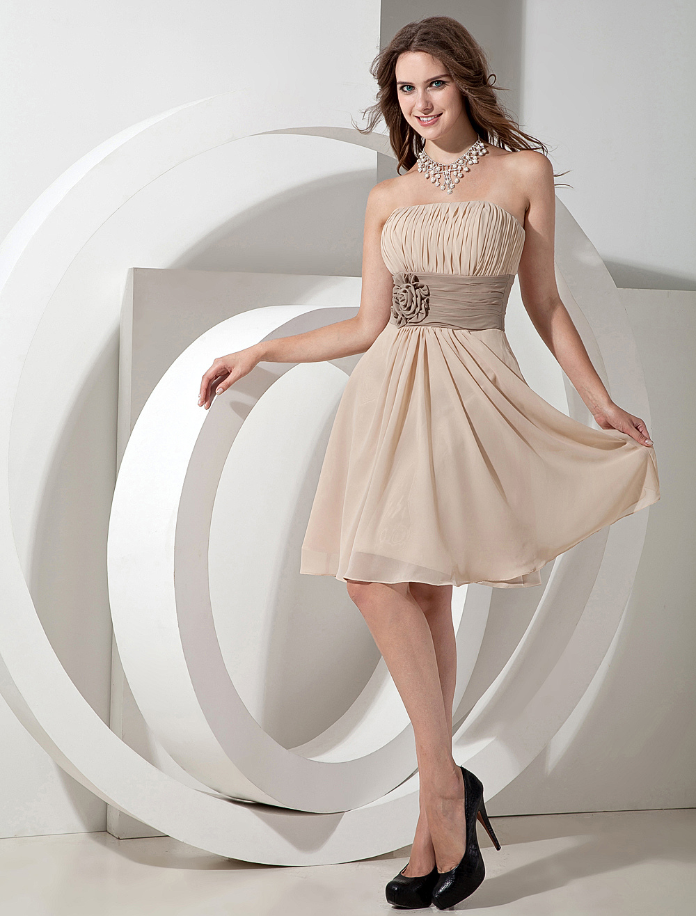 A Line Strapless Knee Length Champagne Chiffon Sash Pleated