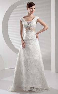 009f8779608 A-line Sweep Lace Satin Sash Wedding ...