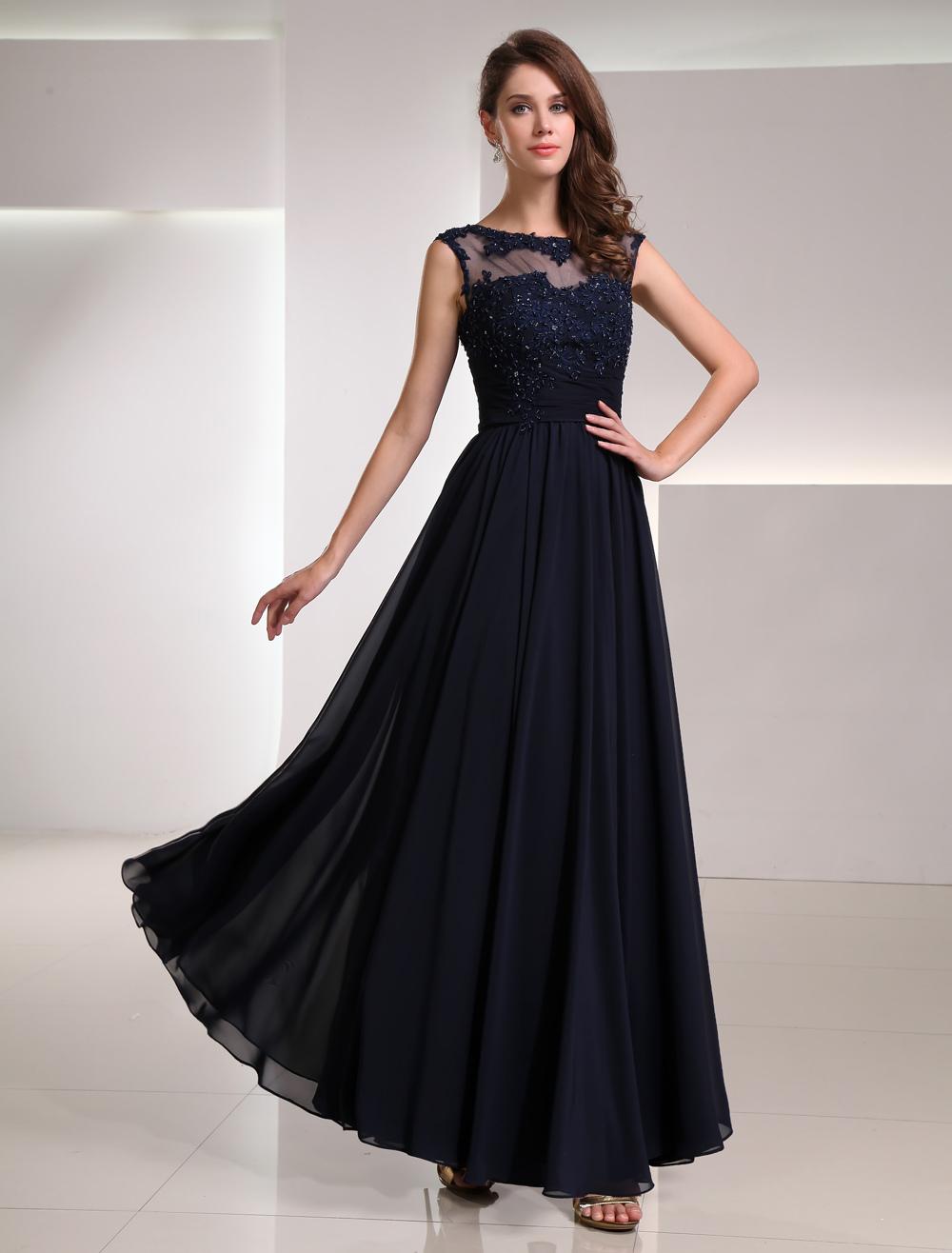 Süßes A-Linie-Abendkleid aus Chiffon mit Rundkragen und Spitze in